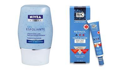 De noite os cuidados são o sabonete da manhã+ esfoliante+creme anti-idade com Retinol (ou ácido retinóico com prescrição médica)