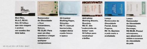 Materia da Revista Claudia com os lenços (e os preços) disponiveis no Brasil em julho do ano passado.
