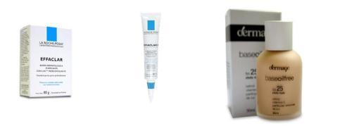 Sabonete Effaclar + Effaclar K (para controle de oleosidade e reduzir os poros) + Base Oil Free com FPS 25 (para proteger do sol e disfarçar as cicatrizes de acne)