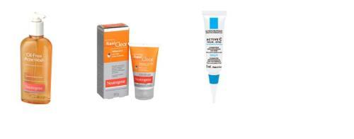 Limpeza e esfoliação com ácido salicilico + creme para os olhos com vitamina C (além do retinóide prescrito pela médica)