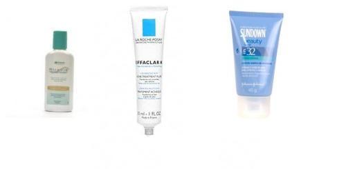 Sabonete Suavié para pele sensivel, Effaclar K para controlar a oleosidade e esfoliar a pele e filtro solar para pele oleosa compõe o kit básico para pele OSNT de manhã.